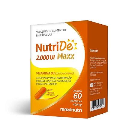 NutriDê Maxx Vitamina D3 2000 UI Maxinutri 60 Cápsulas