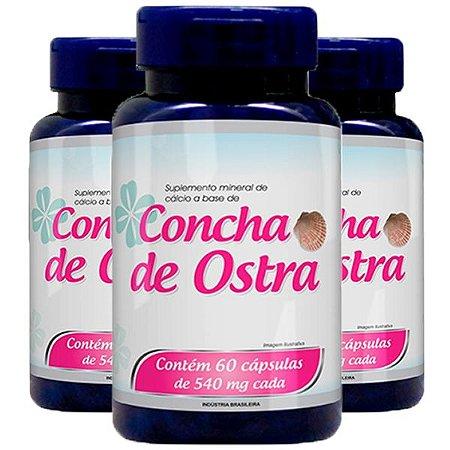 Cálcio a base de Concha de Ostra - 3 unidades de 60 Cápsulas - Promel