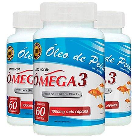 Óleo de Peixe Ômega 3 - 3 unidades de 60 cápsulas - Promel