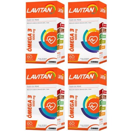 Ômega 3 Lavitan - 4 unidades de 60 Cápsulas - Cimed