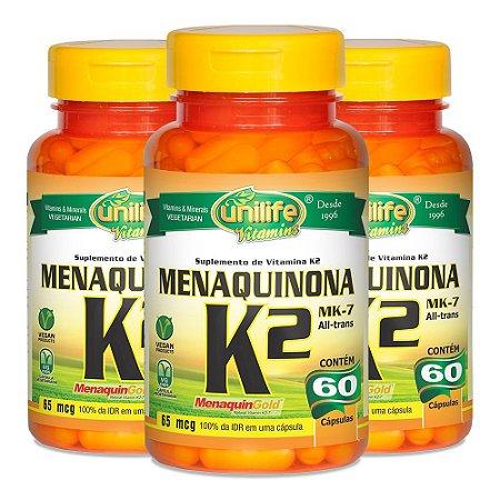 Vitamina K2 (Menaquinona) - 3 unidades de 60 Cápsulas - Unilife