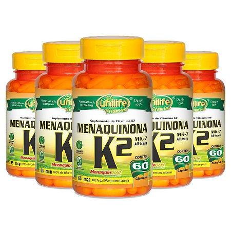 Vitamina K2 (Menaquinona) - 5 unidades de 60 Cápsulas - Unilife