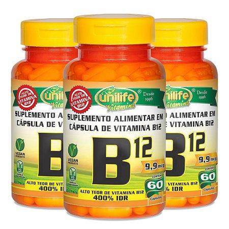Vitamina B12 (cianocobalamina) - 3 unidades de 60 Cápsulas - Unilife