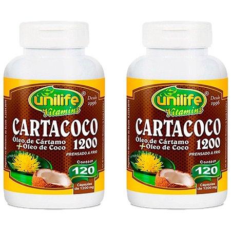 Óleo de Cártamo e Coco 1200mg - 2 unidades de 120 Cápsulas - Unilife