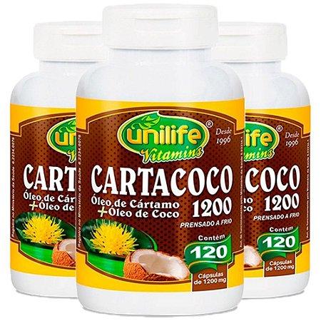 Óleo de Cártamo e Coco 1200mg - 3 unidades de 120 Cápsulas - Unilife