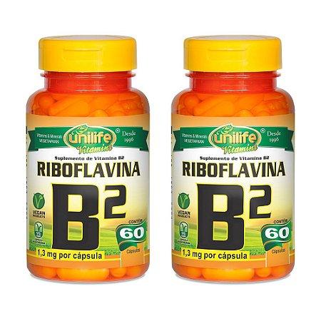 Kit Vitamina B2 Riboflavina Unilife Suplemento 120 Cápsulas