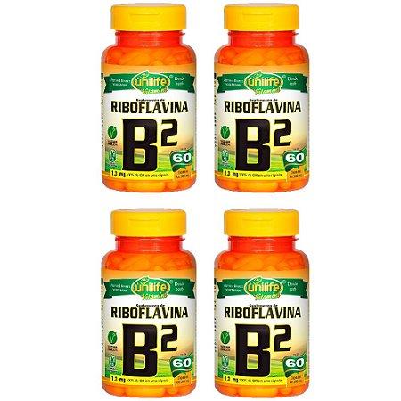 Vitamina B2 (Riboflavina) - 4 unidades de 60 Cápsulas - Unilife