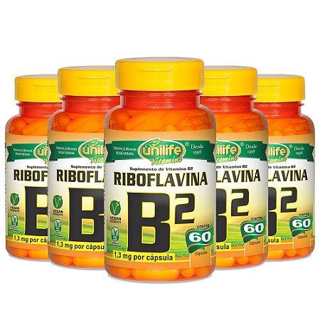 Kit Vitamina B2 Riboflavina Unilife Suplemento 300 Cápsulas