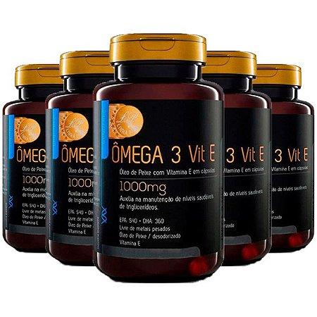 Ômega 3 com Vitamina E - 5 unidades de 120 Cápsulas - Upnutri Prime