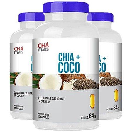 Chia + Coco - 3 unidades de 60 Cápsulas - Clinic Mais