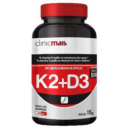 Vitaminas K2 + D3 - 30 Cápsulas - Clinic Mais