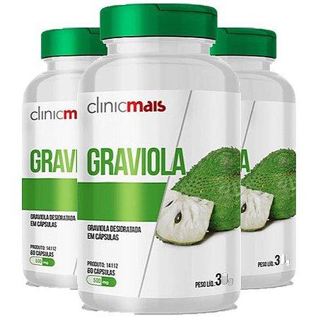 Kit Cápsulas De Graviola ClinicMais Suplemento 180 Cáps