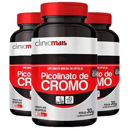 Kit Picolinato De Cromo 500mg ClinicMais 100% IDR 180 Cáps