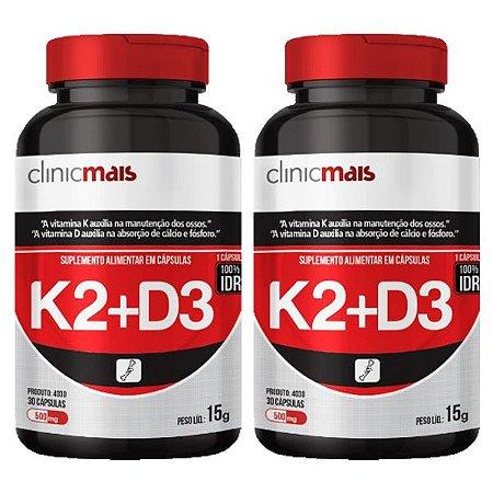 Vitaminas K2 + D3 - 2 unidades de 30 Cápsulas - Clinic Mais