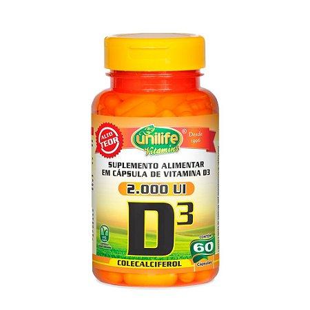 Vitamina D3 2000 UI - 60 Cápsulas - Unilife