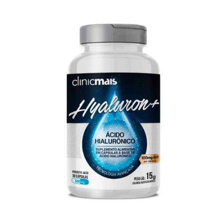 Hyaluron+ Ácido Hialurônico - 30 Cápsulas - Clinic Mais