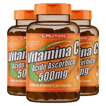KitVitamina C 500mg Lauton Ácido Ascórbico 180 Cápsulas