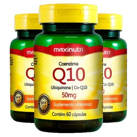 Kit Coenzima Q10 50mg Maxinutri Suplemento 180 Cápsulas