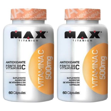 Vitamina C 500mg - 2 unidades de 60 Cápsulas - Max Titanium