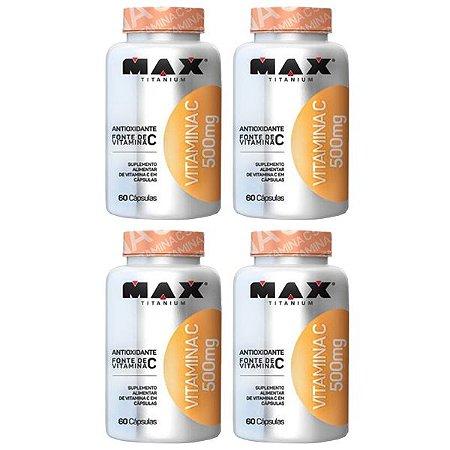 Vitamina C 500mg - 4 unidades de 60 Cápsulas - Max Titanium