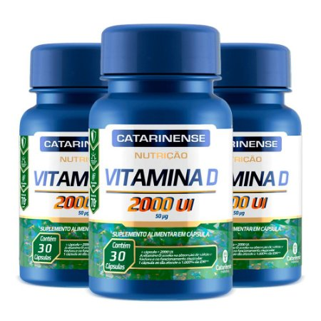 Vitamina D 2000 UI - 3 unidades de 30 Cápsulas - Catarinense