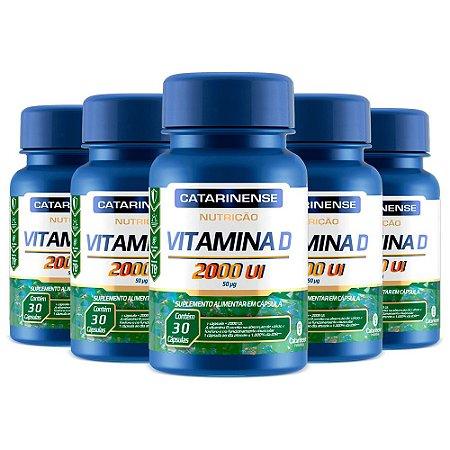 Vitamina D 2000 UI - 5 unidades de 30 Cápsulas - Catarinense