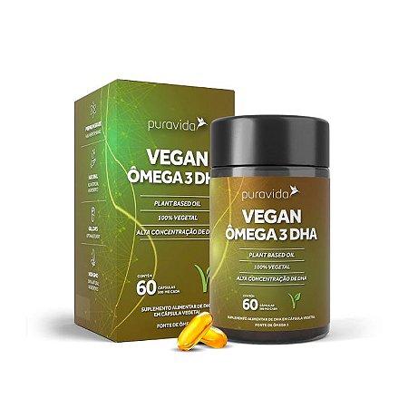 Vegan Ômega 3 DHA Puravida Óleo De Peixe 60 Cápsulas