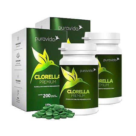 Kit Clorella Puravida Premium Suplemento 500mg 400 Tabletes