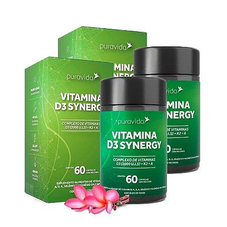 KitVitamina D3 Synergy Puravida Suplemento 120 Cápsulas