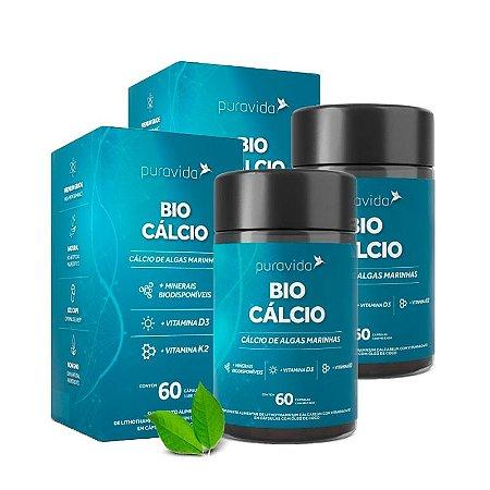 Kit Bio Cálcio Puravida Com Vitaminas D3 e K2 120 Cápsulas