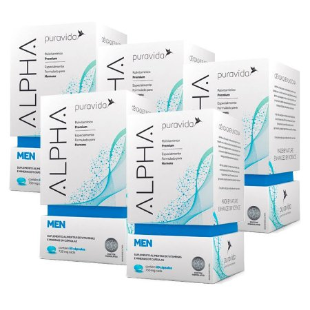 Polivitamínico Alpha Men - 5 unidades de 60 Cápsulas - Puravida