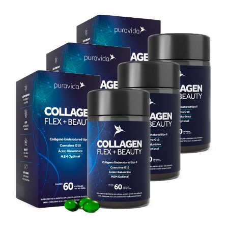 Collagen Flex + Beauty - 3 unidades de 60 Cápsulas - Puravida