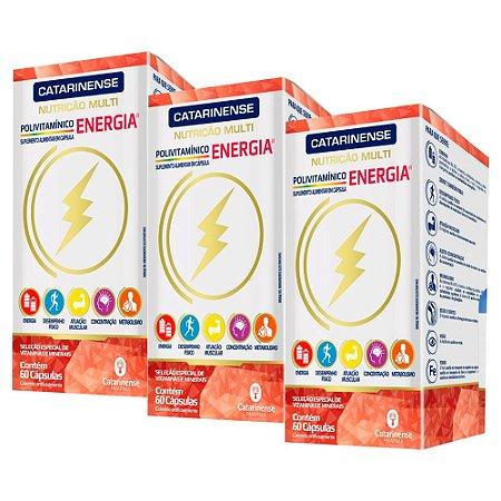 Polivitamínico Energia - 3 unidades de 60 Cápsulas - Catarinense