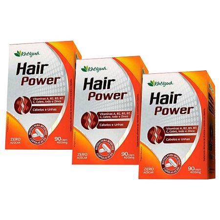 Hair Power Cabelos e Unhas - 3 unidades de 90 Cápsulas - Katigua