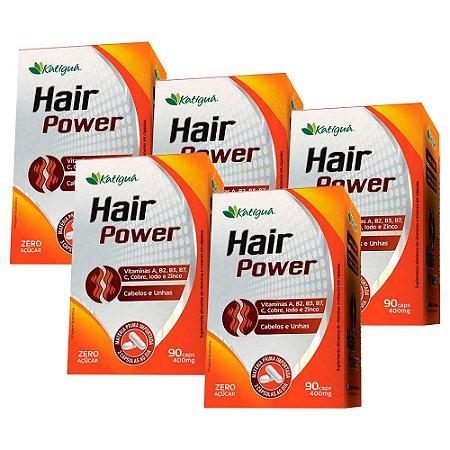 Hair Power Cabelos e Unhas - 5 unidades de 90 Cápsulas - Katigua