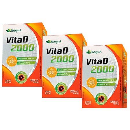 Vitamina D 2000 UI - 3 unidades de 120 Cápsulas - Katigua