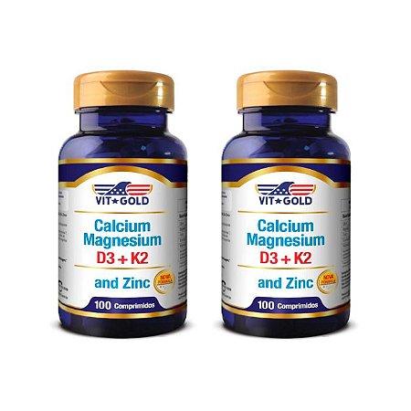 Cálcio Magnésio e Zinco - 2 unidades de 100 Comprimidos - VitGold