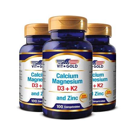 Cálcio Magnésio e Zinco - 3 unidades de 100 Comprimidos - VitGold