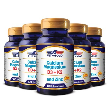 Kit Cálcio Magnésio Com Zinco VitGold 500 Comprimidos