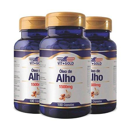 Óleo de Alho 1500mg - 3 unidades de 100 Cápsulas - VitGold