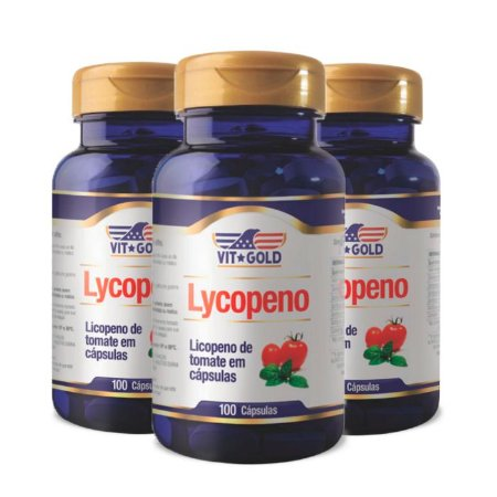 Licopeno de Tomate - 3 unidades de 100 Cápsulas - VitGold