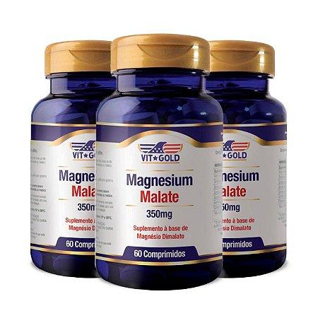 Magnésio Dimalato - 3 unidades de 60 Comprimidos - VitGold