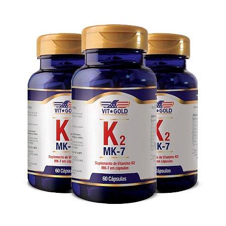 Vitamina K2 - 3 unidades de 60 Cápsulas - VitGold
