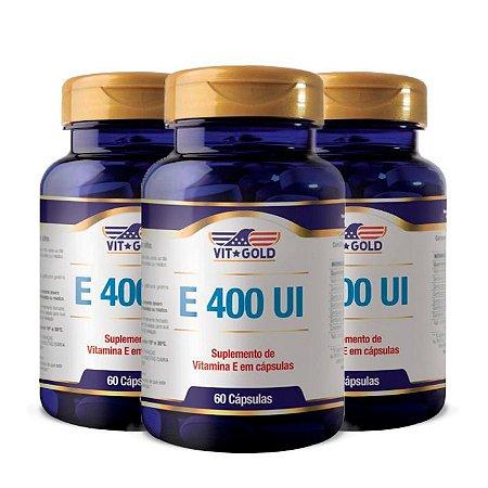 Vitamina E 400 UI - 3 unidades de 60 Cápsulas - VitGold