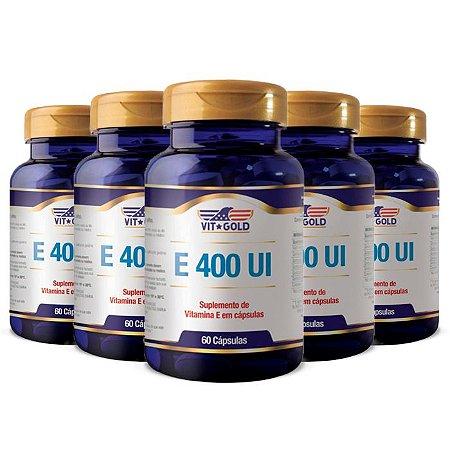 Vitamina E 400 UI - 5 unidades de 60 Cápsulas - VitGold
