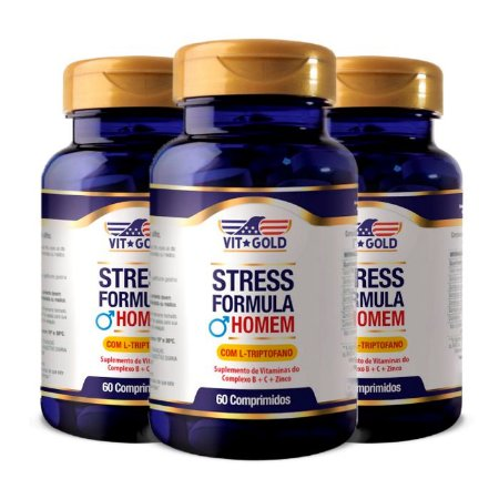 Stress Formula Homem - 3 unidades de 60 Comprimidos - VitGold