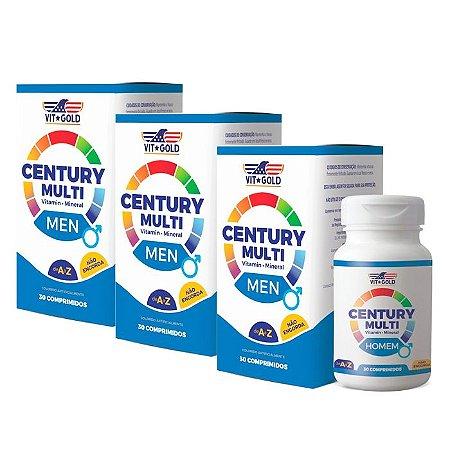 Multivitamínico Century Homem - 3 unidades de 30 Comprimidos - VitGold