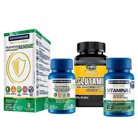 Kit Imunidade - L-glutamina + Polivitamínico Imunidade + Vitamina C 1000UI