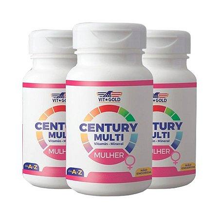 Multivitamínico Century Mulher - 3 unidades de 90 Comprimidos - VitGold