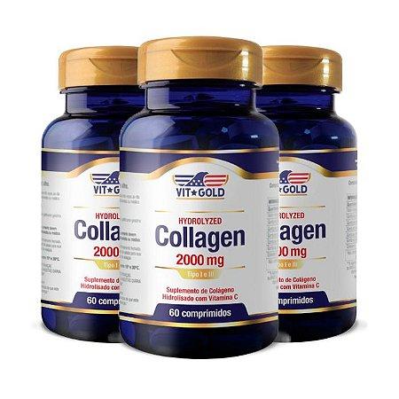 Kit Colágeno 2000mg Tipo I e III VitGold 180 Comprimidos
